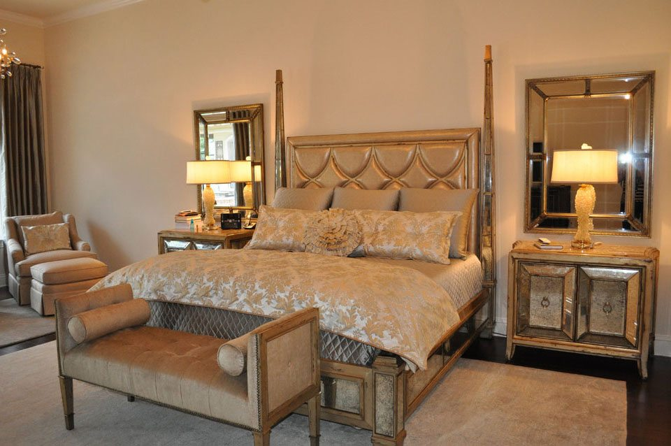 Manufactured in our workroom, this luxurious bedding ensemble features Kravet fabrics & Crystals from Marge Carson.