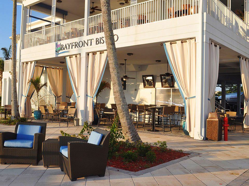 No Project is too small or too large. This Restaurant has Sunbrella grommet style side panels that enhance this waterfront bar/ dining area, and definitely create an inviting outdoor environment.