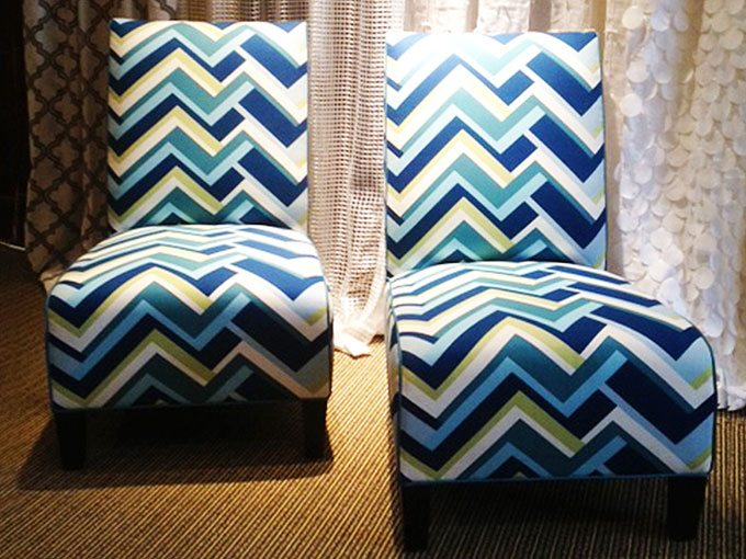 These two mundane chairs were given a whole new lease on life when we reupholstered them in this snazzy geometric print.