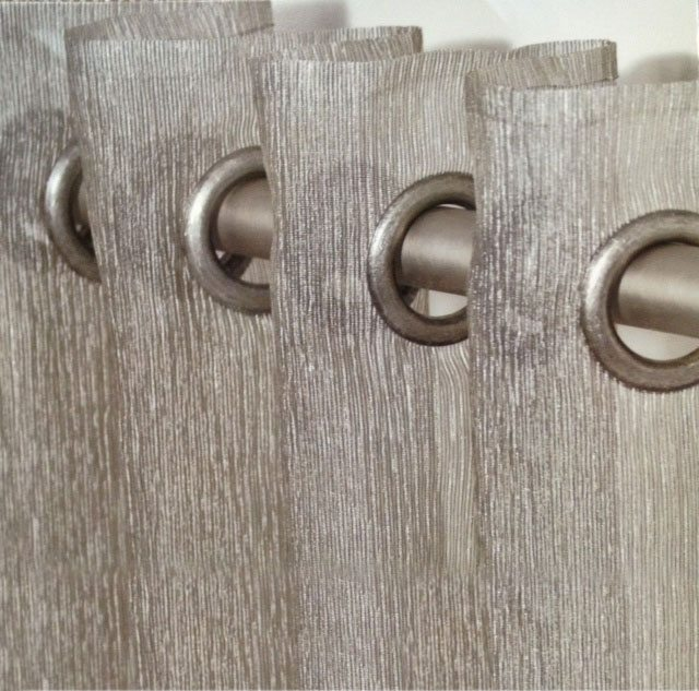 Brushed Nickel grommets and rod used in conjunction with this metallic sheer, will give any room a special look.