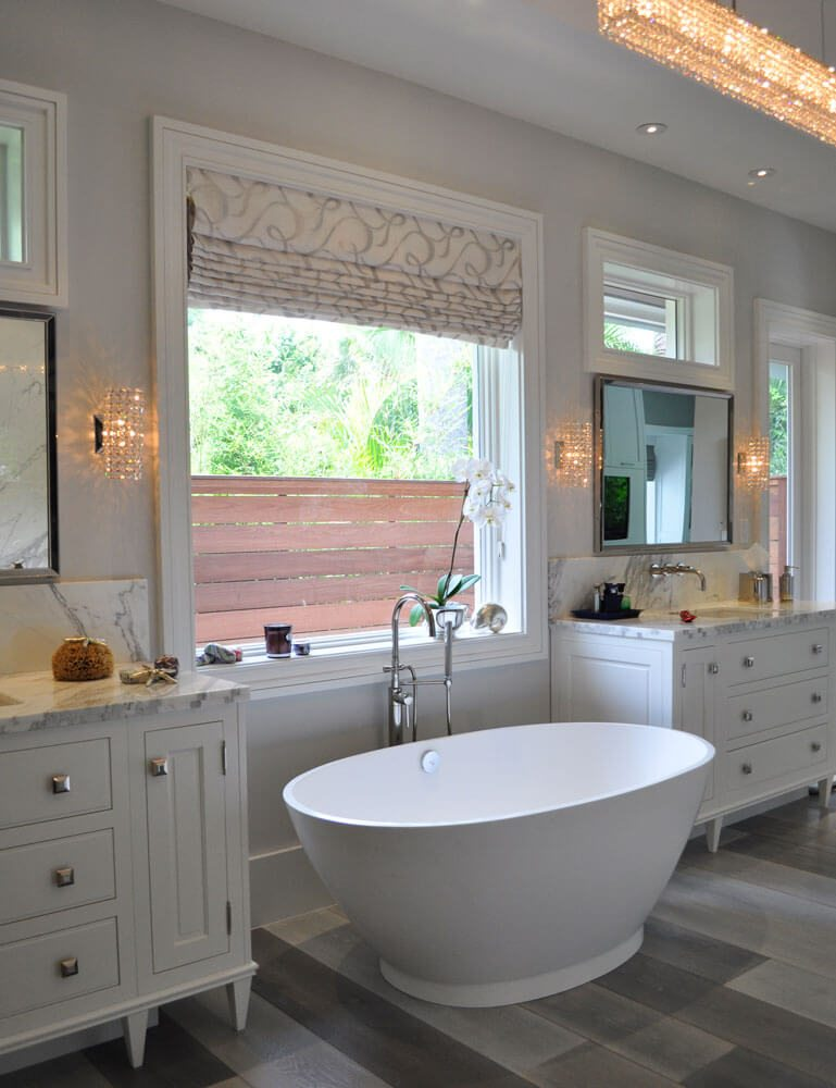 Roman shades are very popular and the use of this burnout  sheer with a metallic lining complements this contemporary bathroom designed by Kelly Godsey.